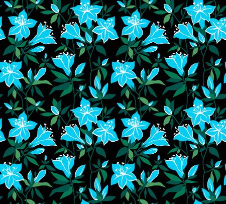 azal�e: Magique fond floral transparente avec des fleurs bleues sur un fond noir azal�es. Illustration