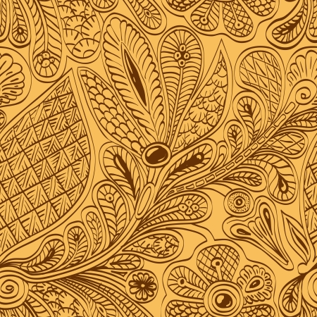 Ethnic seamless vintage pattern with stylized peacock feathers and flowers on a gold background. Persian style. Vector