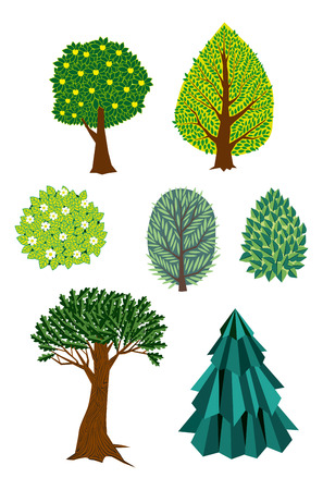 appletree: Set of retro trees and bushes Illustration