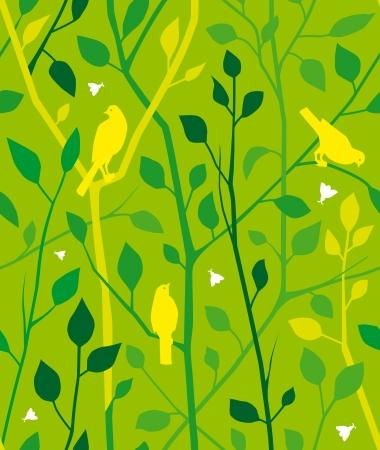 seamless con rami verdi, foglie, uccelli e insetti.