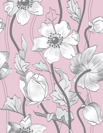 seamless vintage floral pattern with gray anemones on a pink background.
