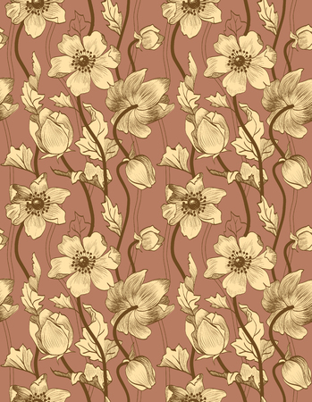 seamless vintage floral pattern with beige anemones on a brown background.