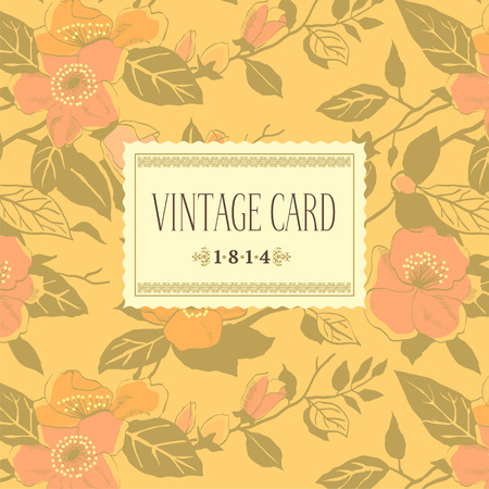 Vintage vector background with blooming wild roses on a beige background  Vector