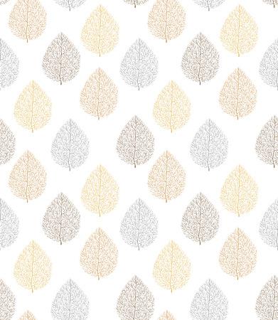 Vector seamless con oro, argento e bronzo foglie su uno sfondo bianco.