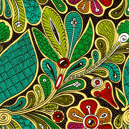Bright vector seamless ethnic pattern pattern. Stylized green peacock feather on dark background. Persian style. Vector