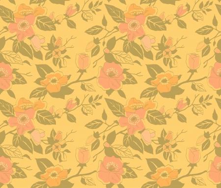 seamless; pattern; flower; vintage; dog rose; gold Vector