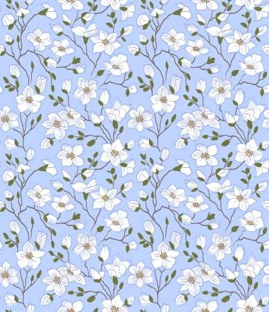 Spring seamless pattern with blooming magnolia branches on a light blue background. Vector