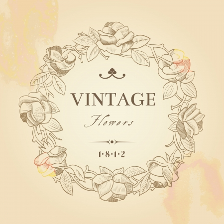 beige stof: Vintage achtergrond met een ronde krans van rozen op beige achtergrond.