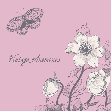 Vector floral spring card with flowers and butterfly anemones on a pink background  Illustration