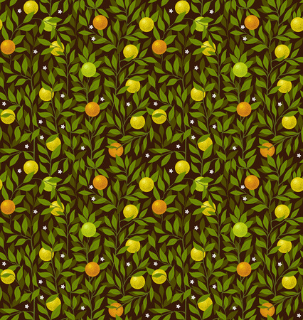 citrus tree: Seamless vector night pattern with an orange tree
