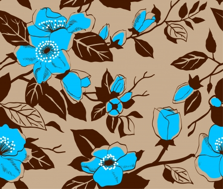 Seamless pattern with flowers of a dogrose Vector