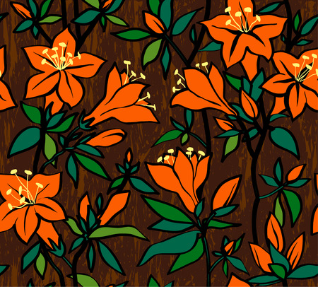 azal�e: Patron transparente avec des fleurs oranges d'une azal�e Illustration