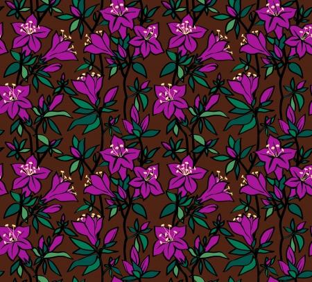 azal�e: Seamless floral avec des fleurs pourpres d'une azal�e sur un fond brun