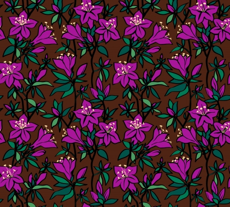 Seamless floral pattern with purple flowers of an azalea on a brown background Vector