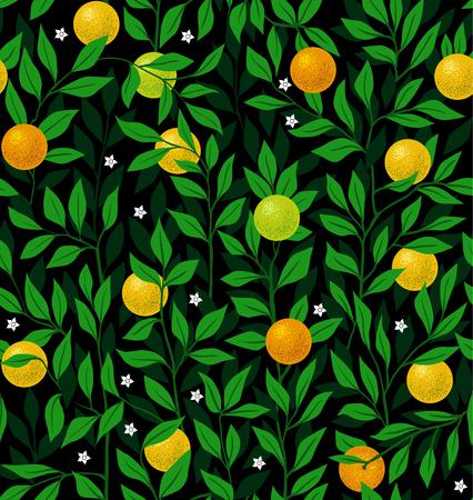 orange tree: Seamless vector night pattern with an orange tree