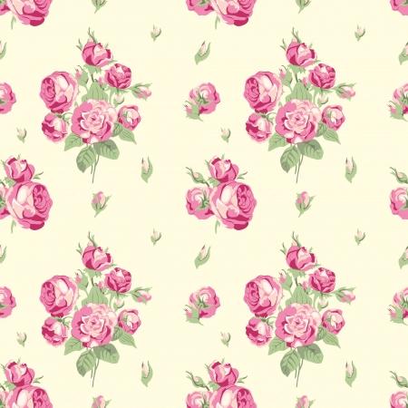 zomertuin: Vintage naadloze patroon met boeketten van roze tuinrozen op een beige achtergrond in Victoriaanse stijl