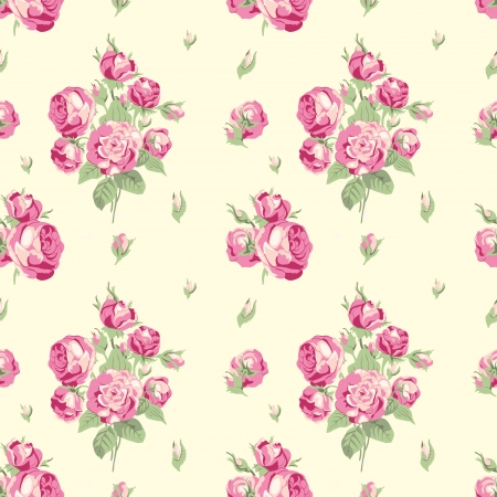 Vintage seamless pattern with bouquets of pink garden roses on a beige background in Victorian style