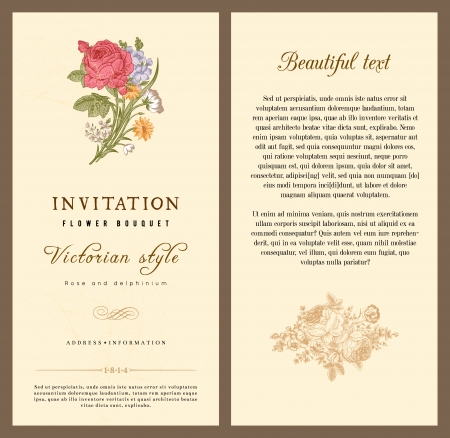 Set of vintage vector vertical invitation with Victorian bouquets of flowers on a beige background light. Фото со стока - 25023014