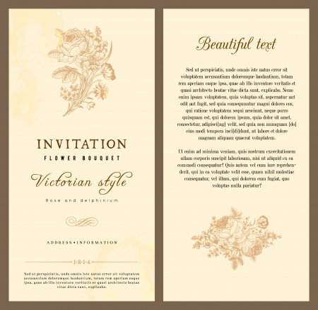 Set of vintage vertical invitation with Victorian bouquets of flowers on a beige background light. Фото со стока - 25023059