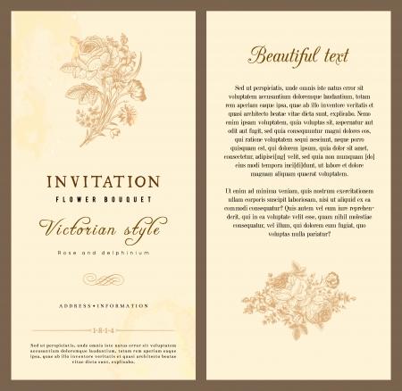 beige stof: Set van vintage verticale uitnodiging met Victoriaanse boeketten bloemen op een beige achtergrond licht. Stock Illustratie