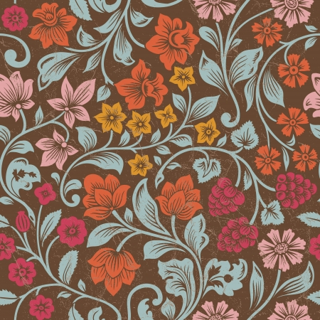 Vector seamless vintage floral pattern. Stylized silhouettes of flowers and berries on a brown background. Orange, pink, red flowers with emerald leaves. Persia.