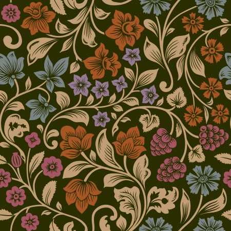 flower pattern: Stylized silhouettes of flowers and berries on a black background