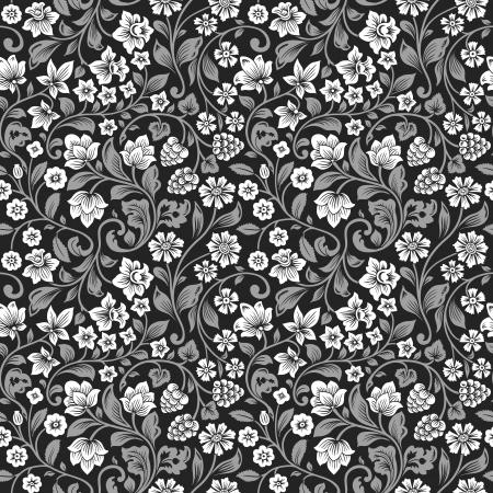 Vector naadloze vintage bloemmotief. Gestileerde silhouetten van bloemen en bessen op een zwarte achtergrond. Witte bloemen met grijze bladeren.