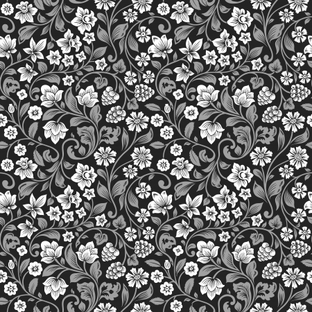 Vector seamless vintage floral pattern. Stylized silhouettes of flowers and berries on a black background. White flowers with gray leaves.