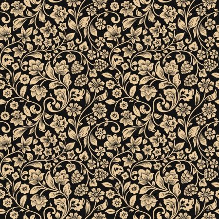 シームレスなビンテージ花パターン ベクトル。花と果実は灰色の背景を定型化されたシルエット。ベージュ色の花。