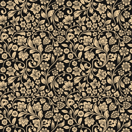 Vector seamless vintage floral pattern. Stylized silhouettes of flowers and berries on a gray background. Beige flowers.  Çizim