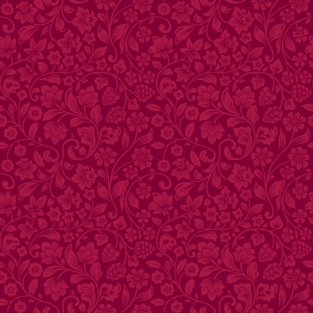 claret red: Stylized silhouettes of flowers and berries on a claret background