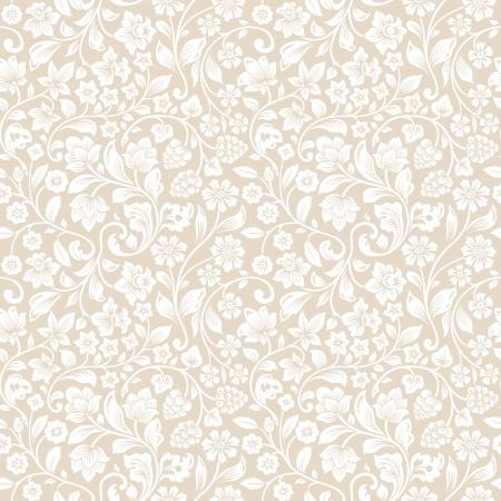 シームレスなビンテージ花パターン ベクトル。花や果実、ベージュの背景を定型化されたシルエット。白い花。