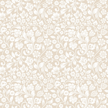persia: Vector seamless vintage floral pattern. Stylized silhouettes of flowers and berries on a beige background. White flowers.
