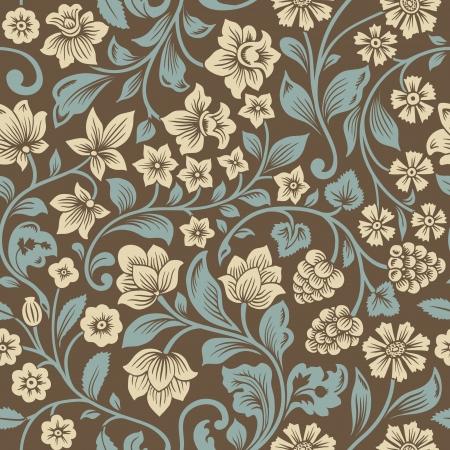 textured: seamless vintage floral pattern