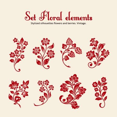 Acht rode gestileerde silhouetten van takken met bloemen en bessen op een beige achtergrond.