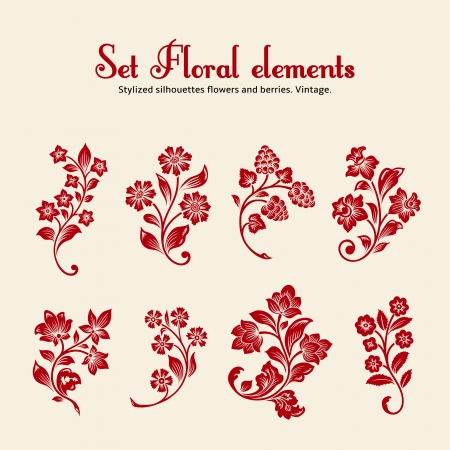 Eight red stylized silhouettes of branches with flowers and berries on a beige background.