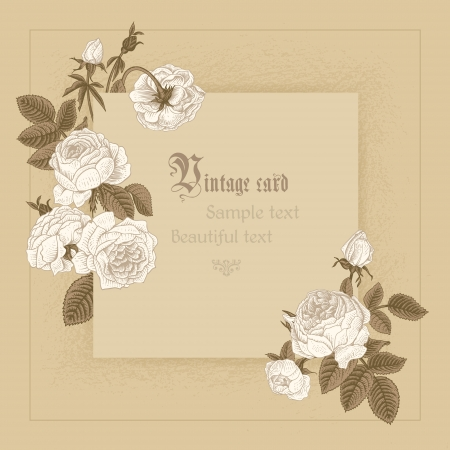 Frame imitating paper surrounded by white blooming roses on a beige background. Фото со стока - 25022841