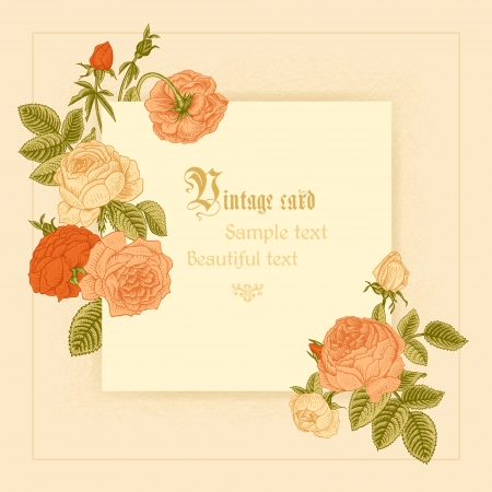 Frame imitating paper surrounded by coral roses on a beige background. Vector