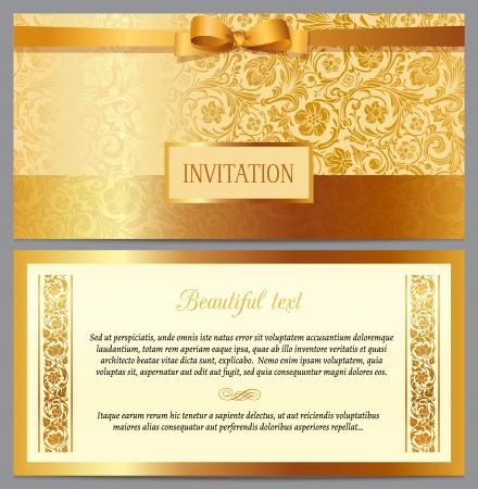 Conjunto de horizontal invitación de lujo de la vendimia con un patrón de belleza barroca y frontera Foto de archivo - 25022508