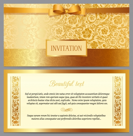 Set of vintage luxury horizontal invitation with a beautiful baroque pattern and border Ilustração