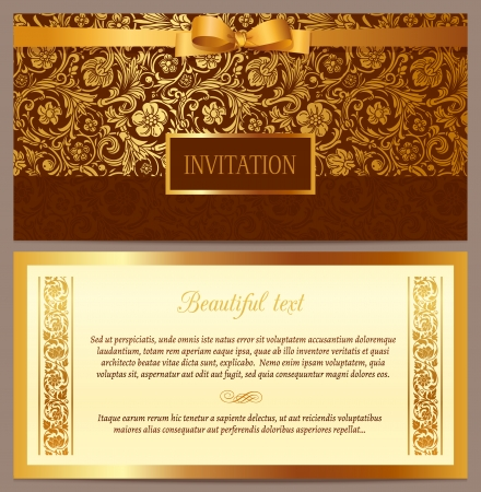 graphics design: Set of vector vintage luxury horizontal invitation with a beautiful baroque pattern and border  Brown and gold