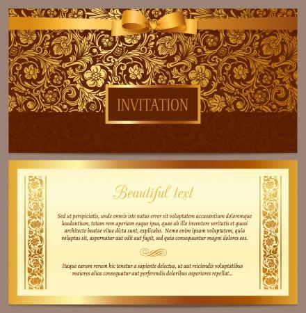 inbjudan: Uppsättning av vektor vintage lyx horisontell inbjudan med en vacker barockmönster och gränsar brunt och guld