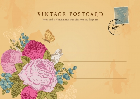 Vector vintage postcard in Victorian style  Floral bouquet of roses, forget-me-and delphinium on shabby beige background  Vector