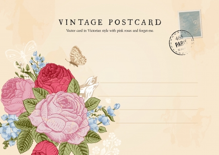 vintage postcard: Vector vintage postcard in Victorian style  Floral bouquet of roses, forget-me-and delphinium on shabby beige background
