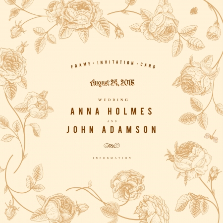 Vintage vector wedding card with beautiful gold garden roses on a beige background  Victorian style  Иллюстрация