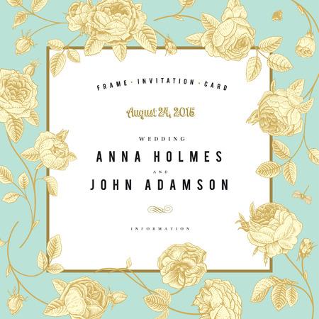 Lijst schets tuin rozen met een gouden overzicht op mint achtergrond