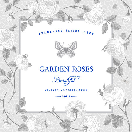 bodas de plata: Vector vintage postal de la boda de lujo en marco de estilo victoriano de rosa de plata sobre un fondo gris con el texto azul elemento de diseño