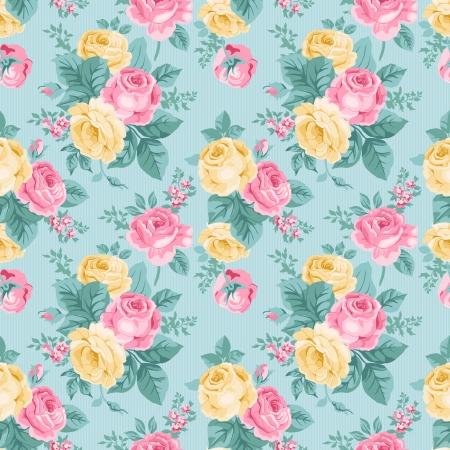 Naadloze: naadloze vintage bloemmotief