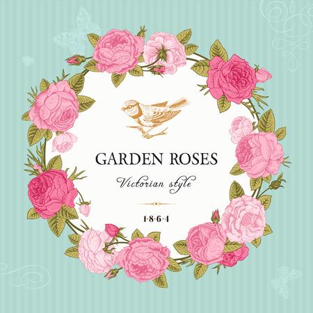 Tarjeta del vector de la vendimia con un marco redondo de rosas de color rosa en el fondo del jardín de menta estilo victoriano