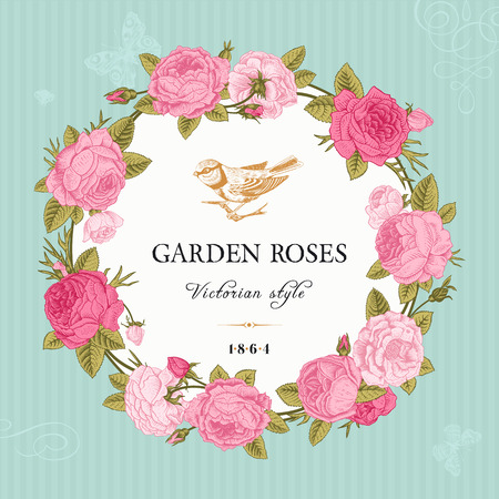 marcos redondos: Tarjeta del vector de la vendimia con un marco redondo de rosas de color rosa en el fondo del jardín de menta estilo victoriano